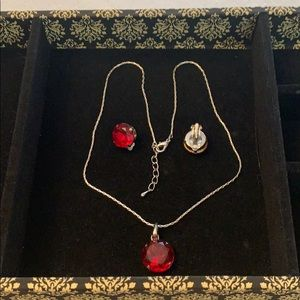 Jewelry - Set of necklace with matching clasp earrings.